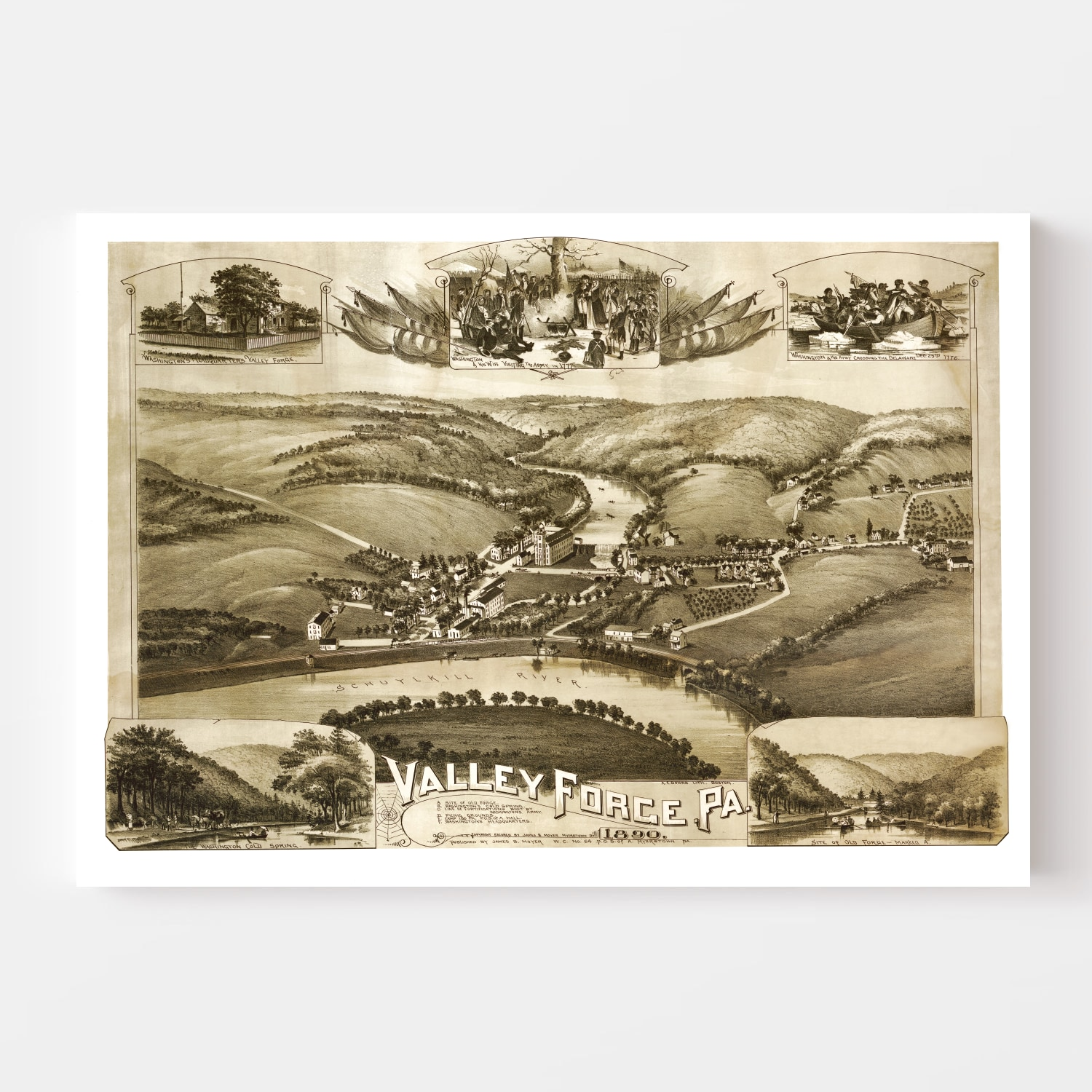 Vintage Map of Valley Forge, Pennsylvania 1890