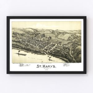 Vintage Map of St. Mary's, West Virginia 1899
