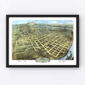 Vintage Map of Chattanooga, Tennessee 1871