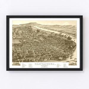Vintage Map of Chattanooga, Tennessee 1886