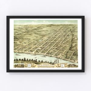 Vintage Map of Clarksville, Tennessee 1870