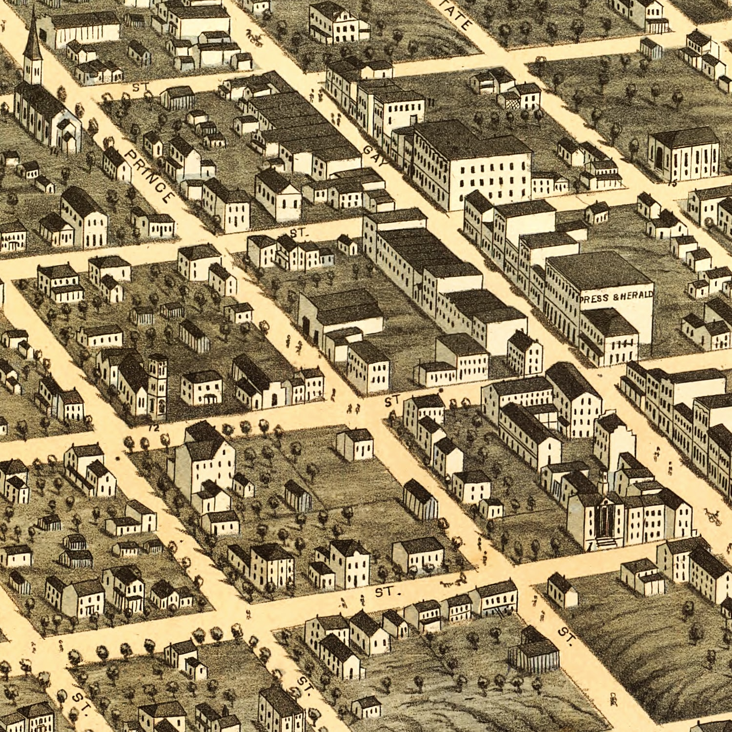 Vintage Map of Knoxville, Tennessee 1871