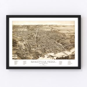 Vintage Map of Knoxville, Tennessee 1886