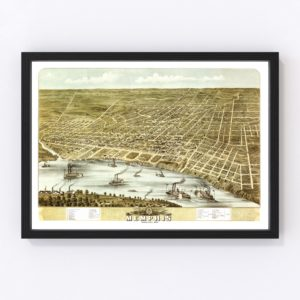 Vintage Map of Memphis, Tennessee 1870