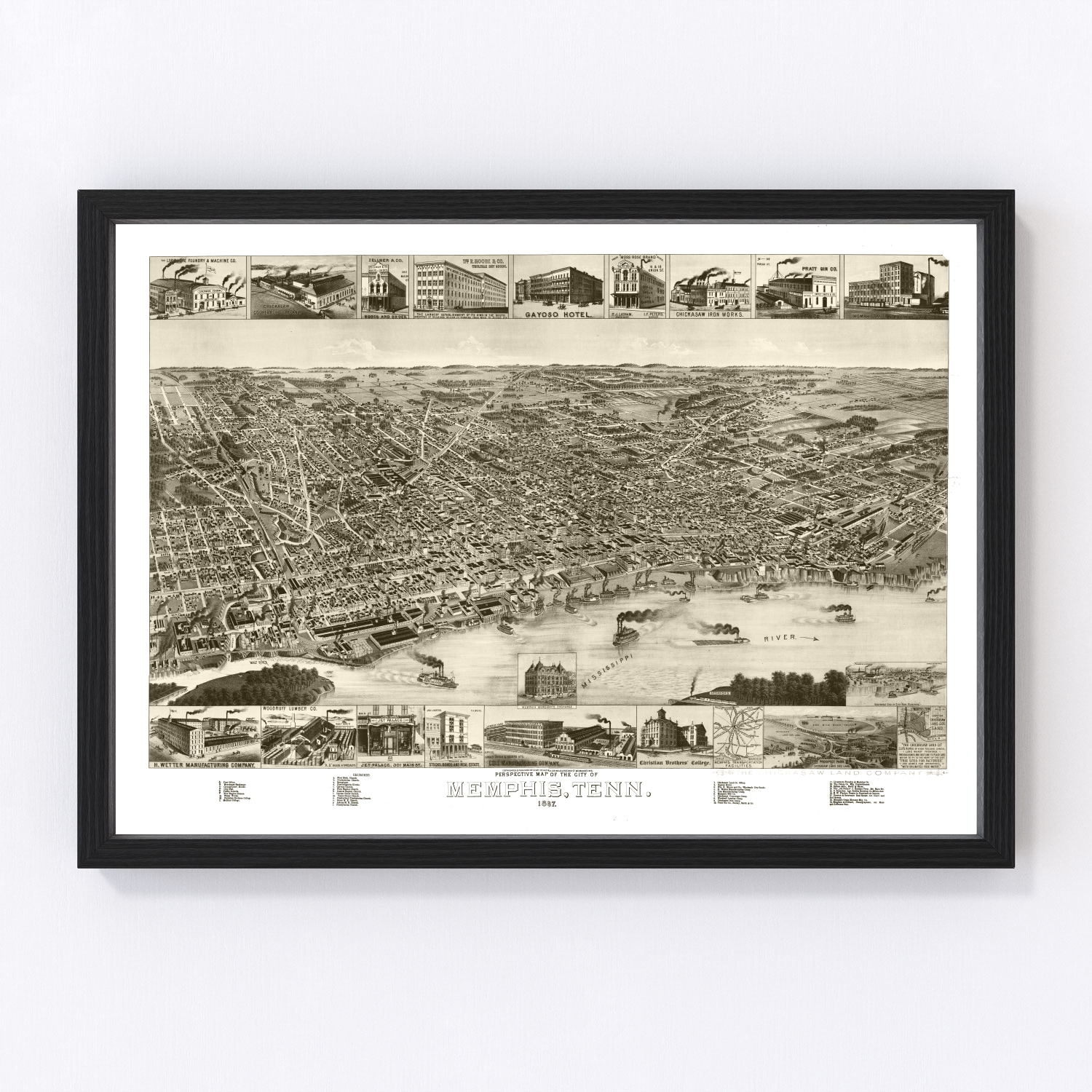 Vintage Map of Memphis, Tennessee 1887
