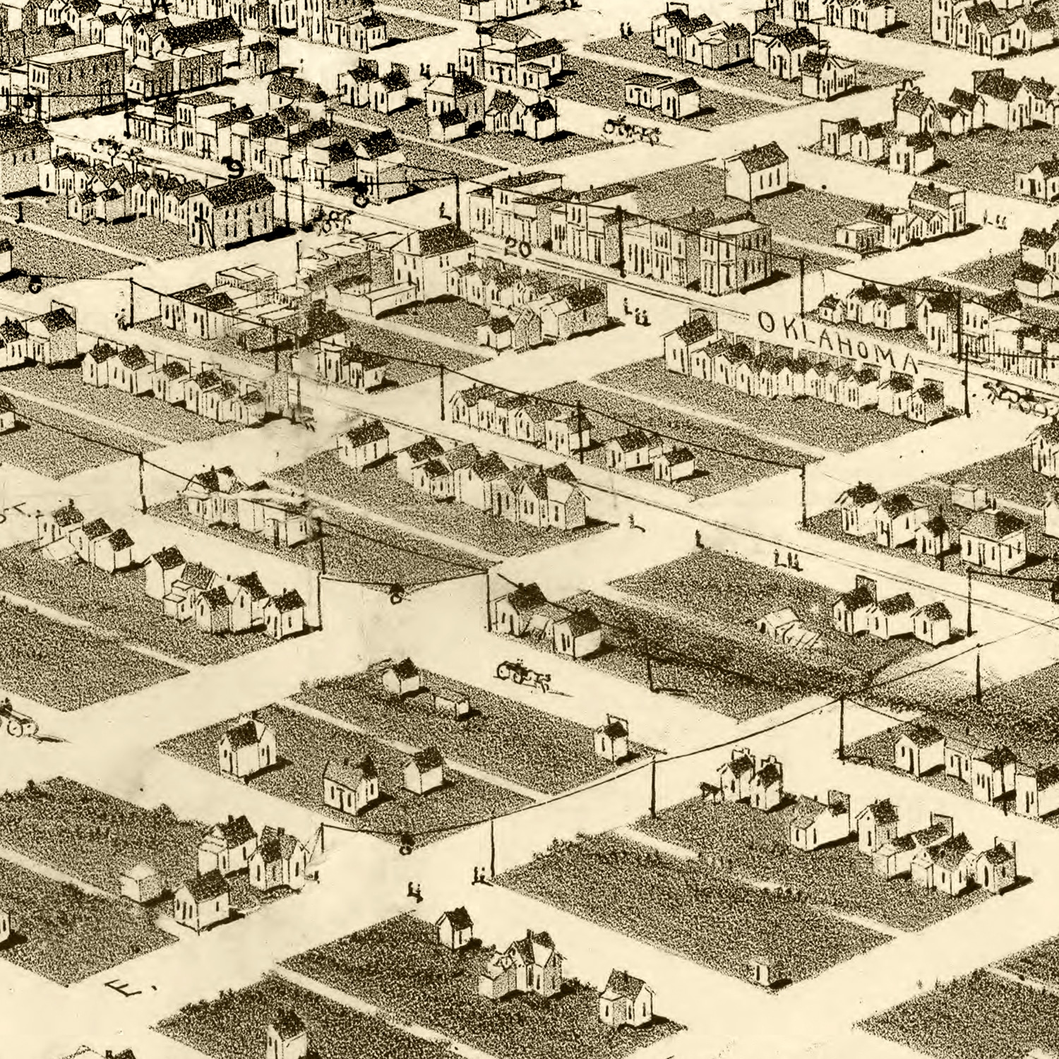 Vintage Map of Guthrie, Oklahoma 1890