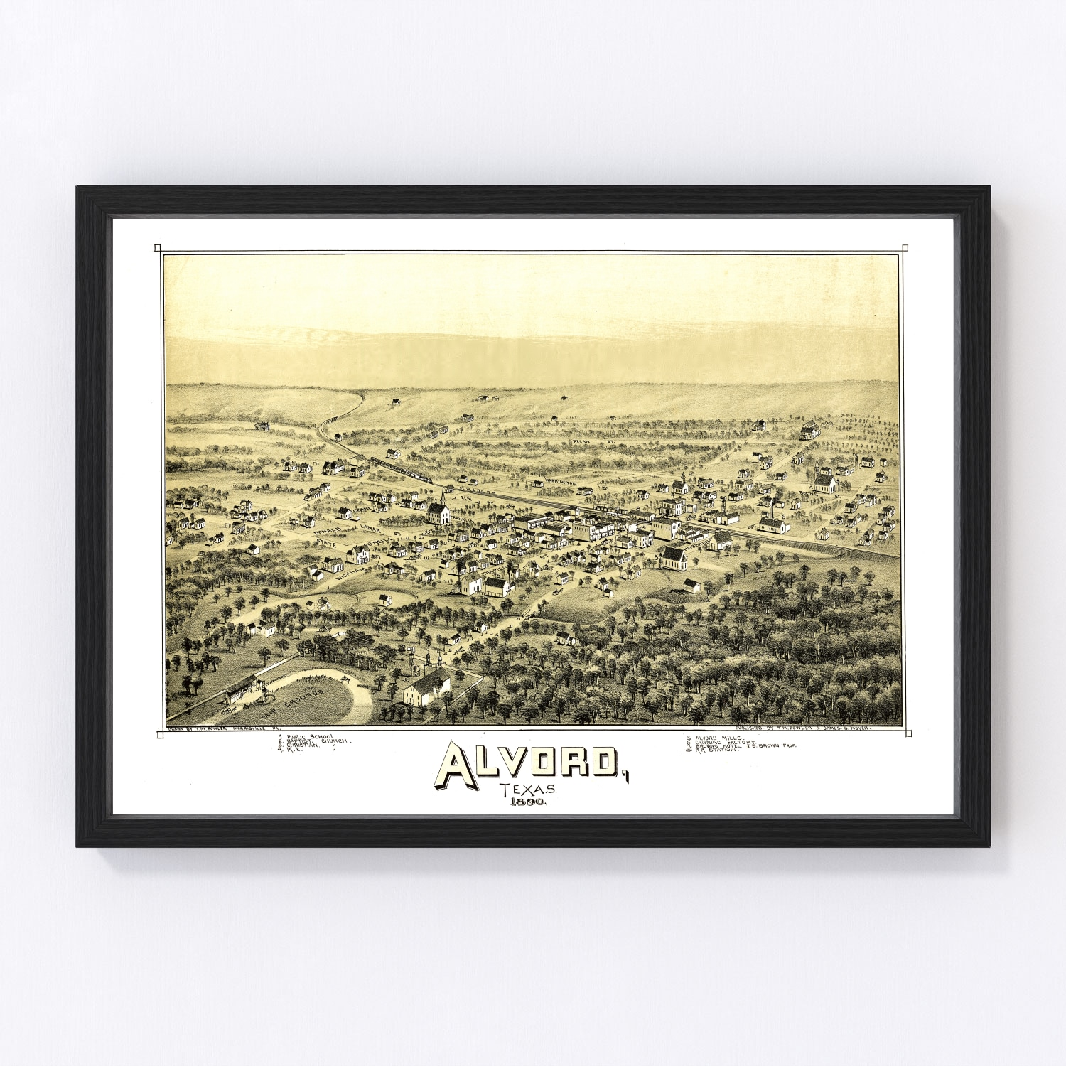Vintage Map of Alvord, Texas 1890
