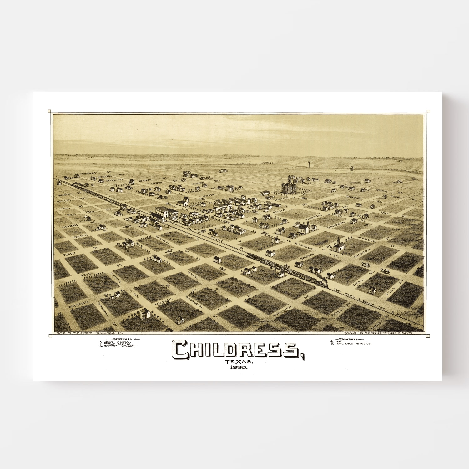 Vintage Map of Childress, Texas 1890