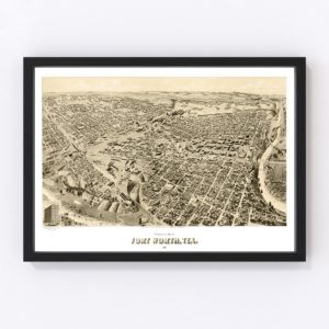 Vintage Map of Fort Worth, Texas 1891