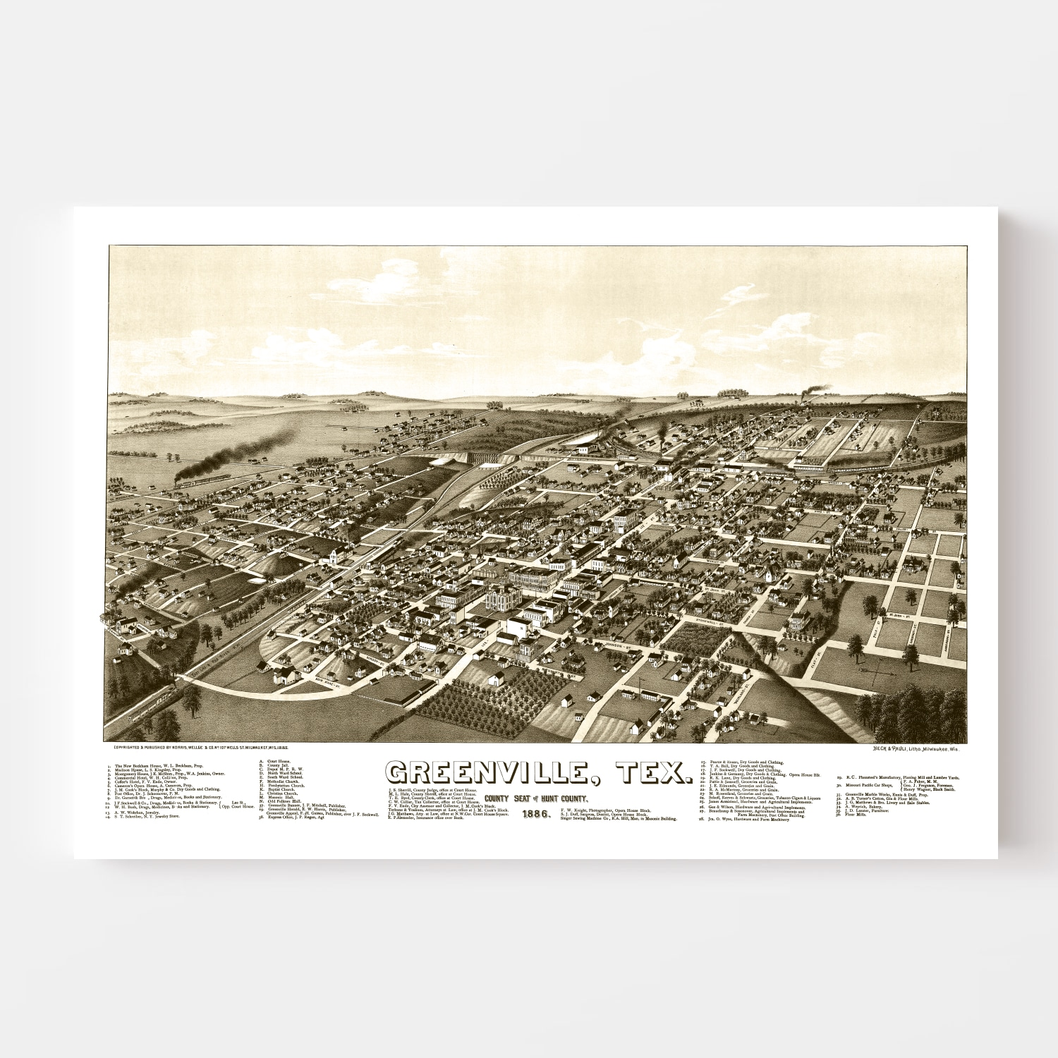 Vintage Map of Greenville, Texas 1886