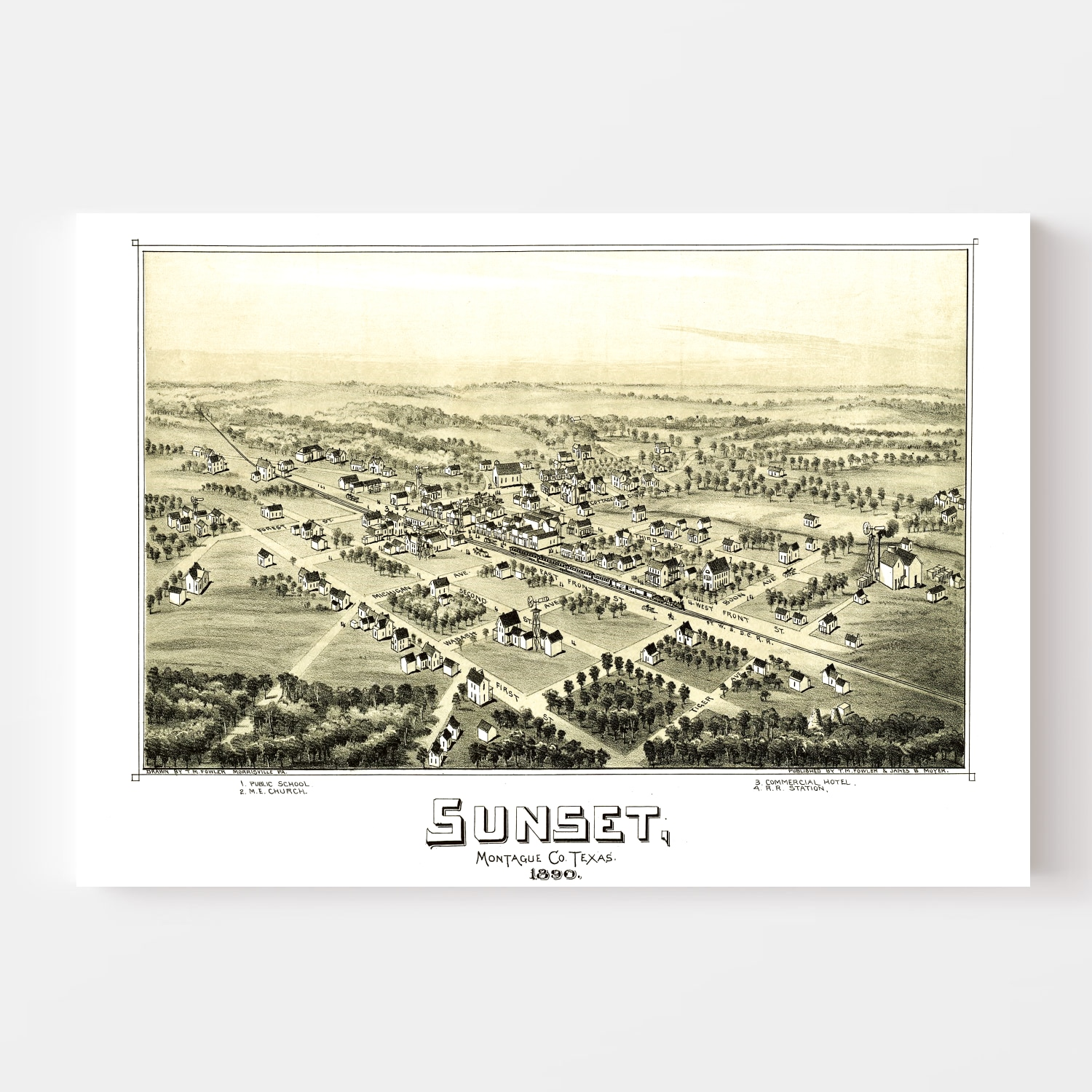 Vintage Map of Sunset, Texas 1890