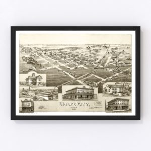 Vintage Map of Wolfe City, Texas 1891