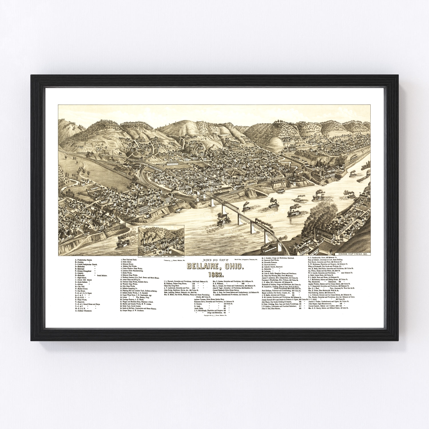 Vintage Map of Bellaire, Ohio 1882