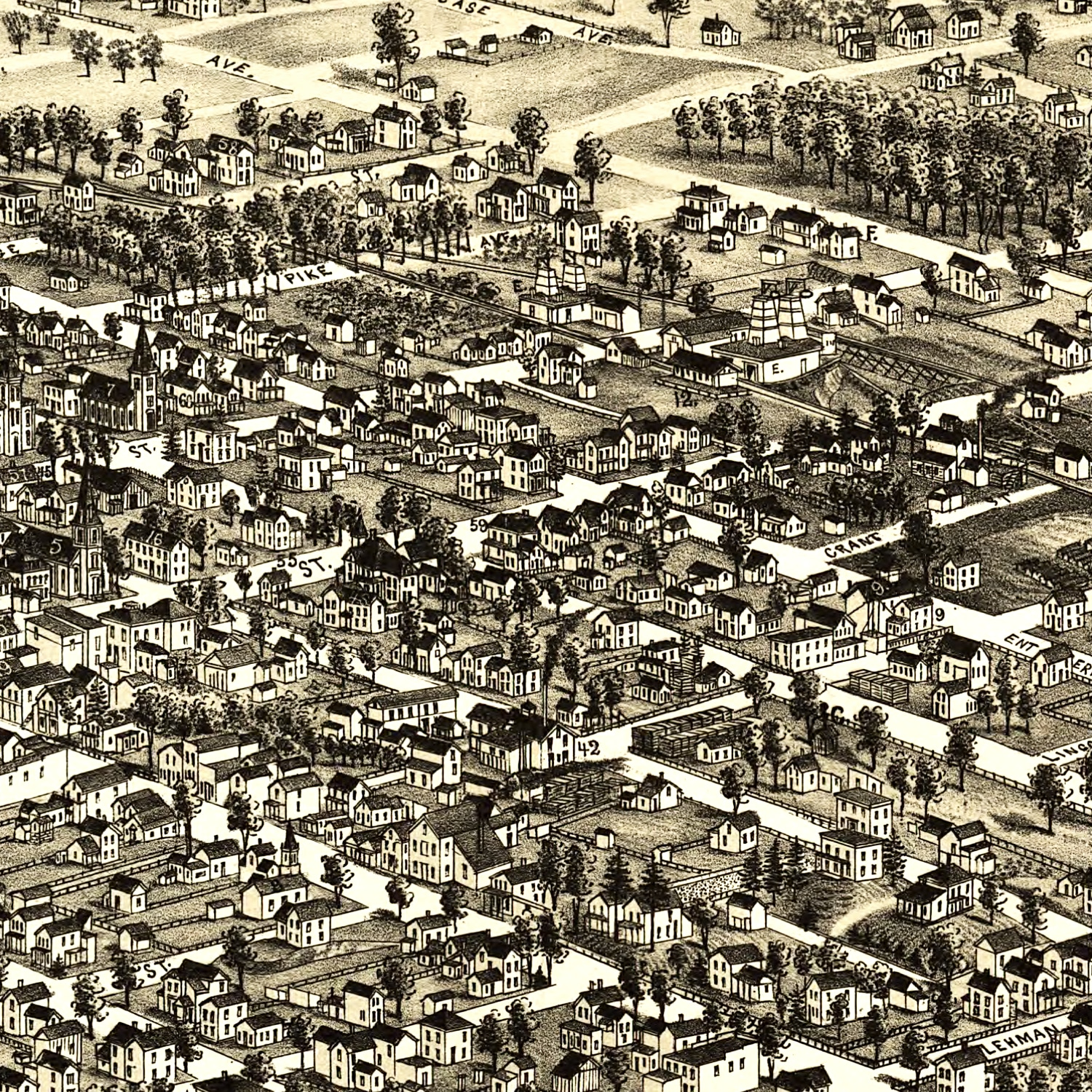 Vintage Map of Bowling Green, Ohio 1888