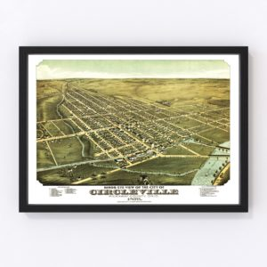 Vintage Map of Circleville, Ohio 1876
