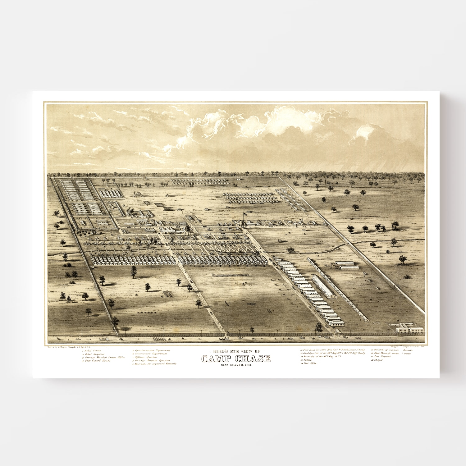 Vintage Map of Camp Chase, Ohio 1860