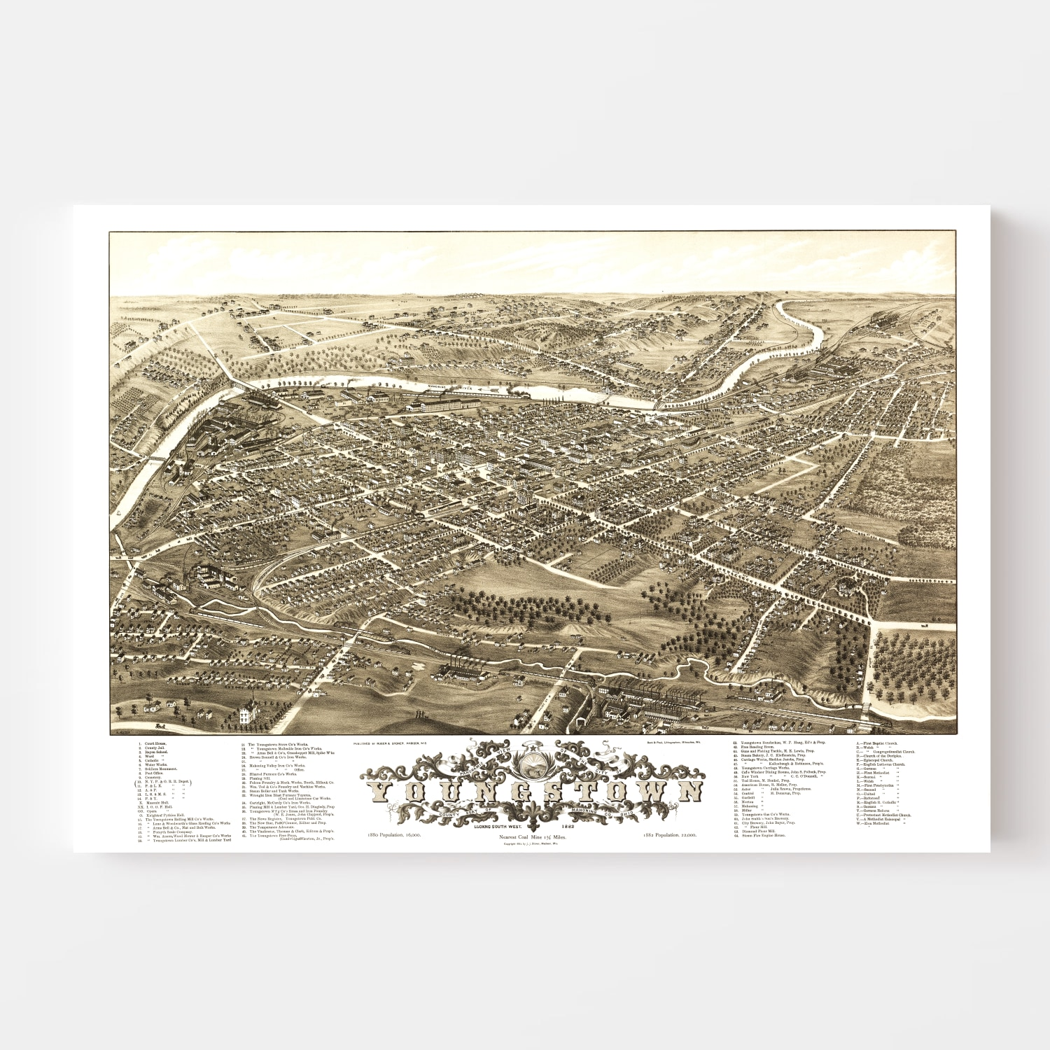 Vintage Map of Youngstown, Ohio 1882