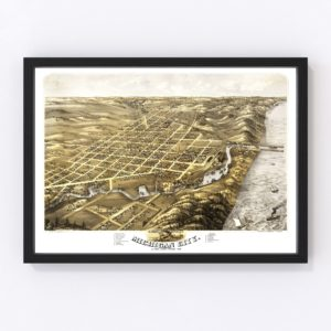 Vintage Map of Michigan City, Indiana 1869