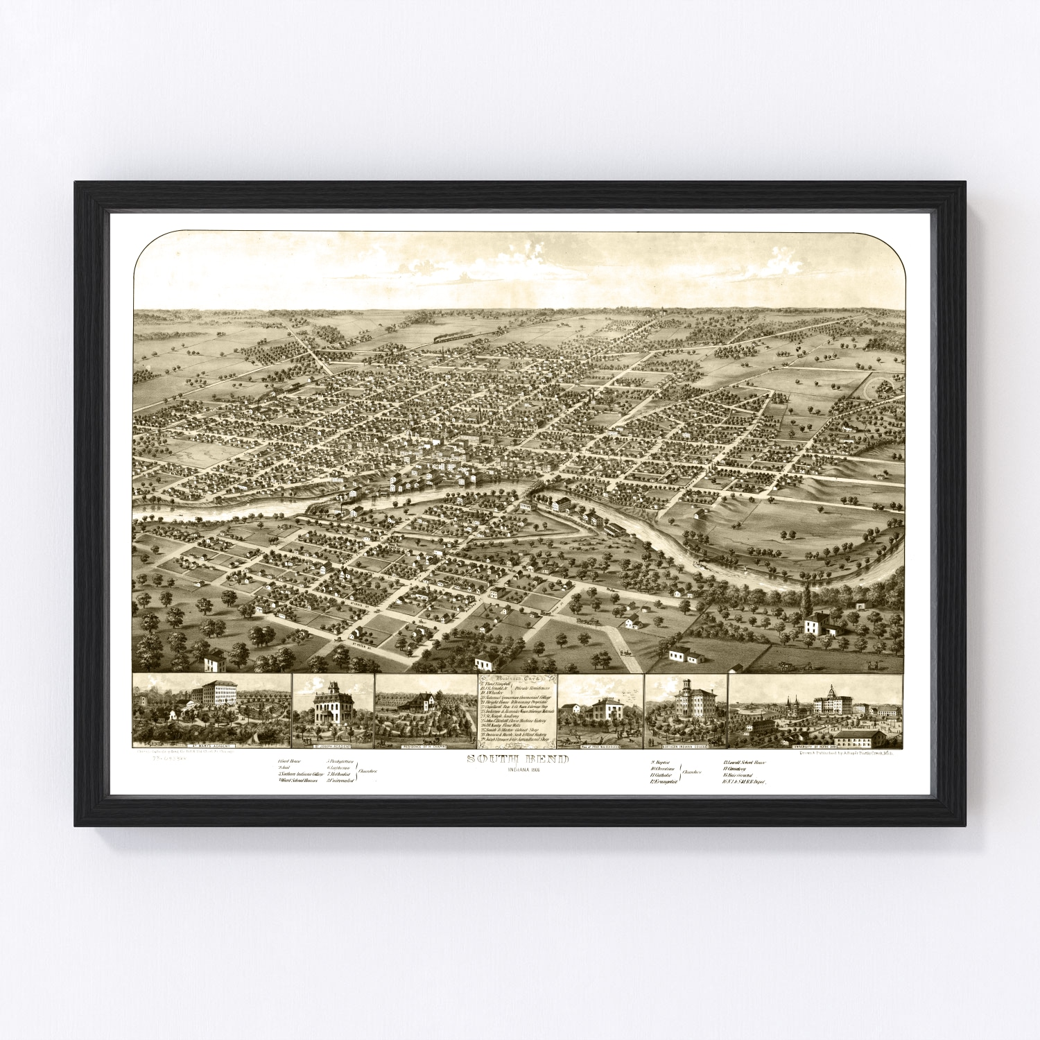 Vintage Map of South Bend, Indiana 1866
