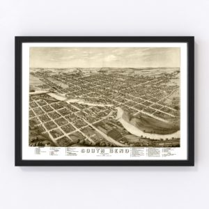 Vintage Map of South Bend, Indiana 1874