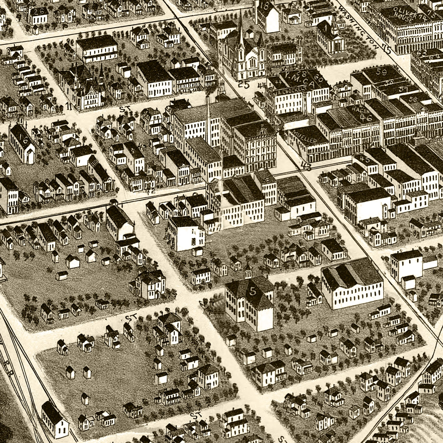 Vintage Map of South Bend, Indiana 1890