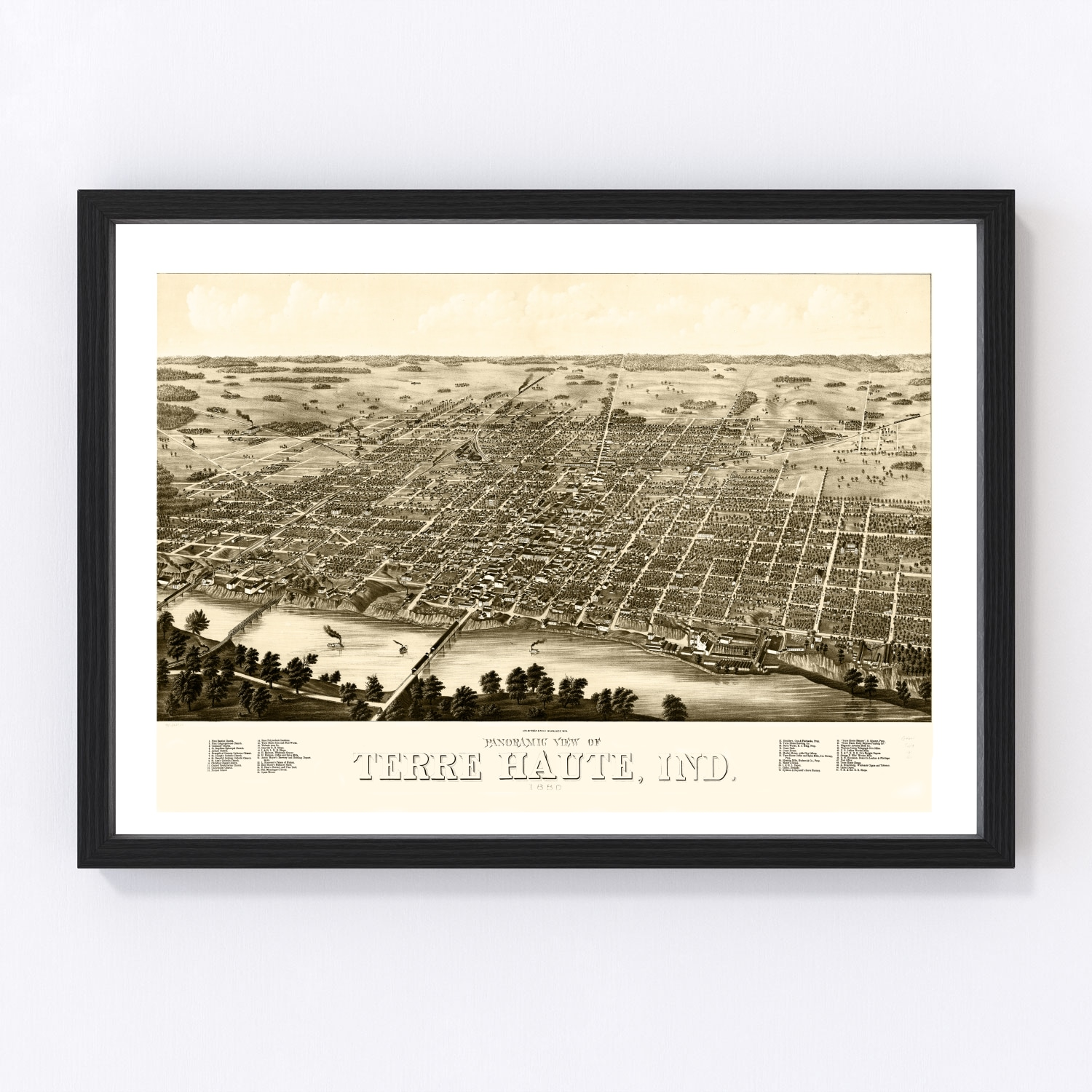 Vintage Map of Terre Haute, Indiana 1880