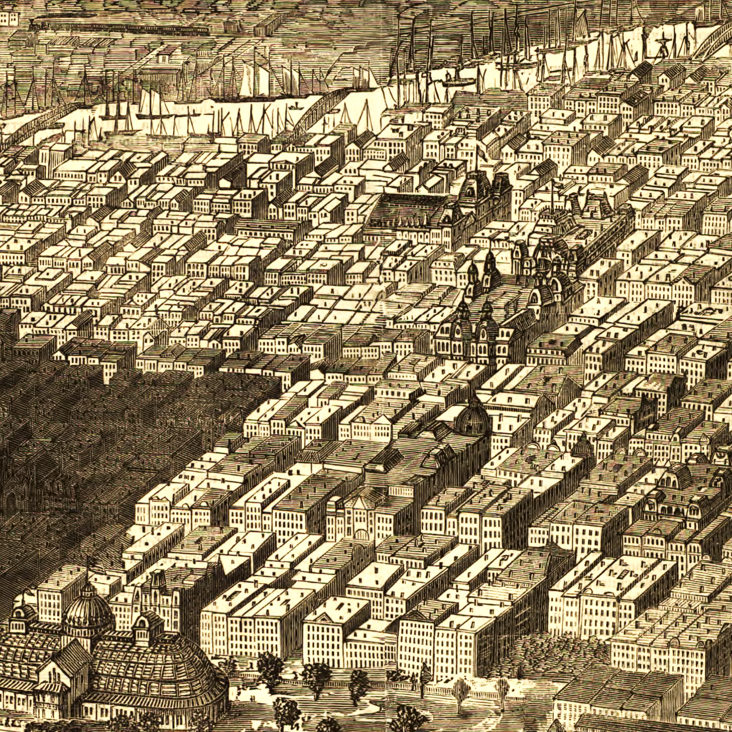 Vintage Map of Chicago, Illinois 1874