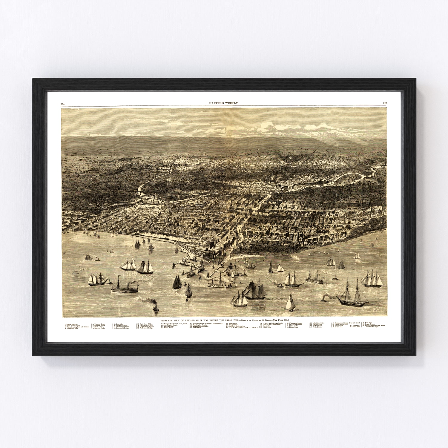 Vintage Map of Chicago, Illinois 1871