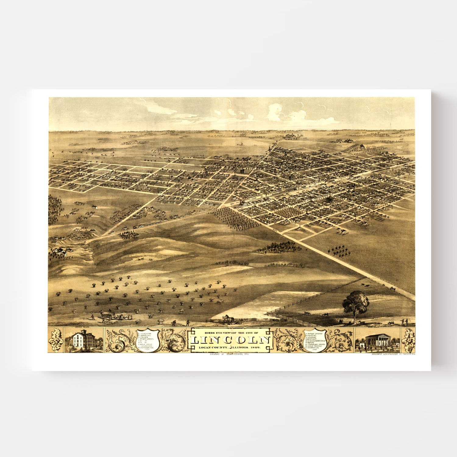 Vintage Map of Lincoln, Illinois 1869