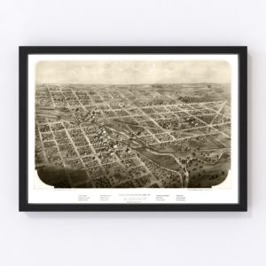 Vintage Map of Albion, Michigan 1868