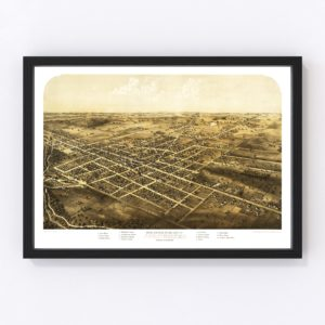 Vintage Map of Coldwater, Michigan 1868
