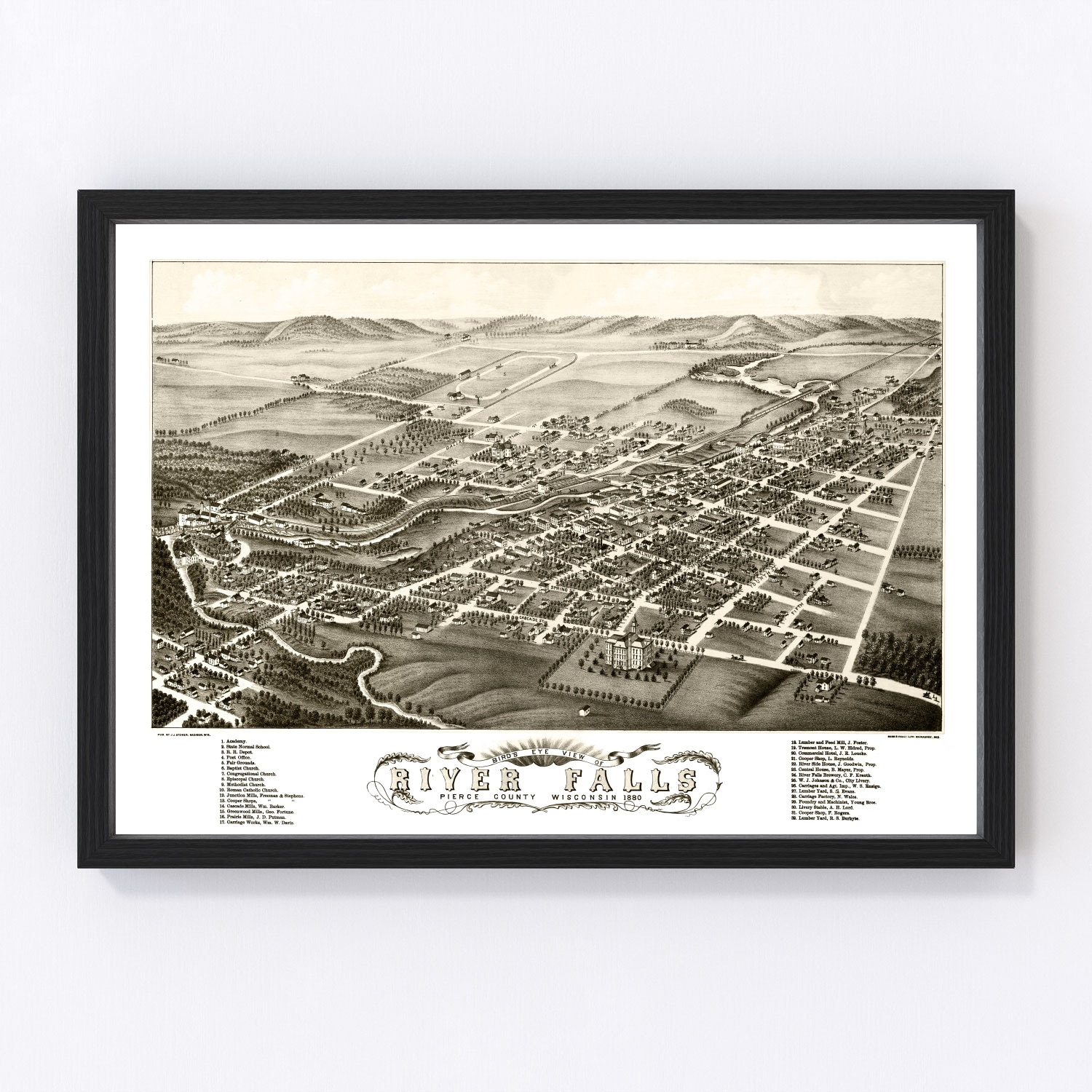 Vintage Map of River Falls, Wisconsin 1880