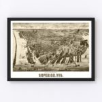Vintage Map of Superior, Wisconsin 1893