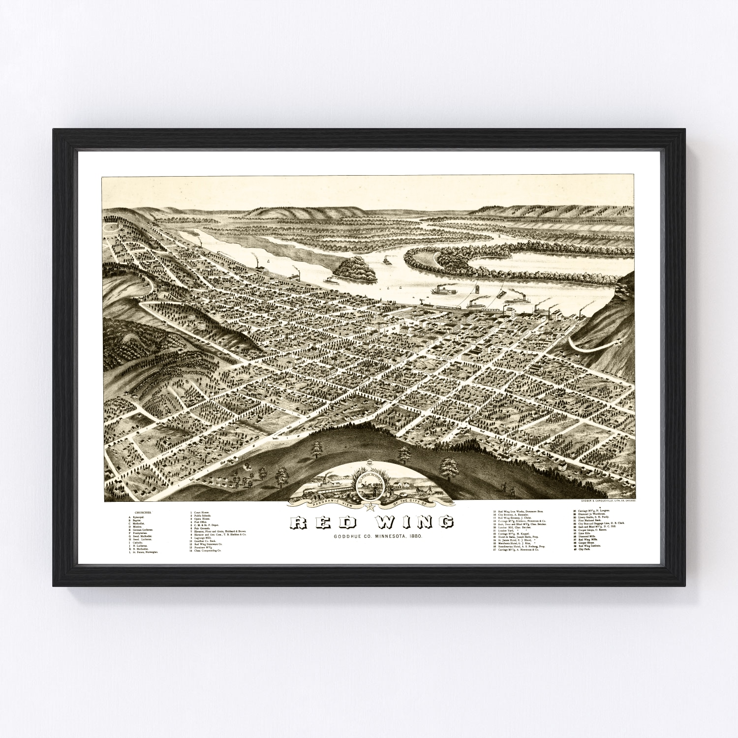 Vintage Map of Red Wing, Minnesota 1880