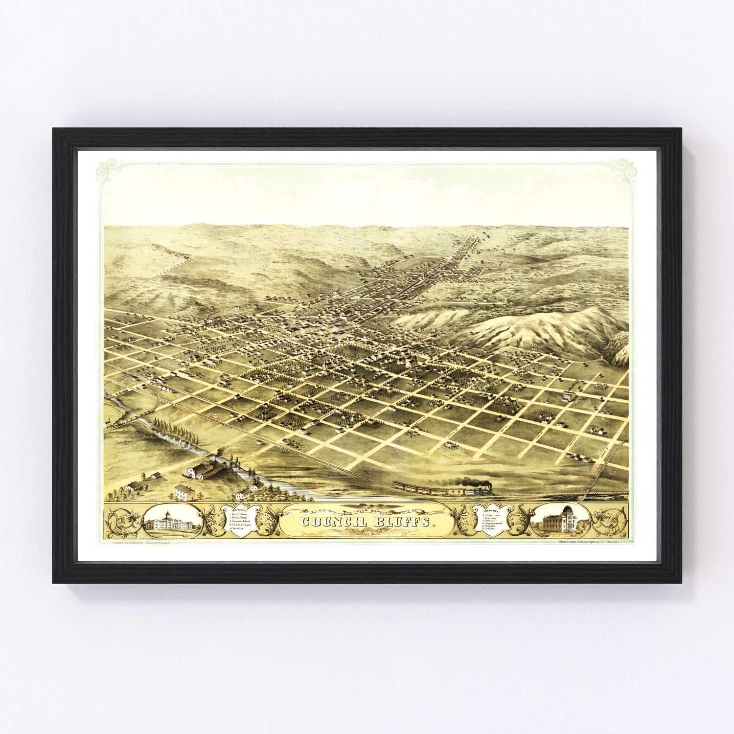 Vintage Map of Council Bluffs, Iowa 1868