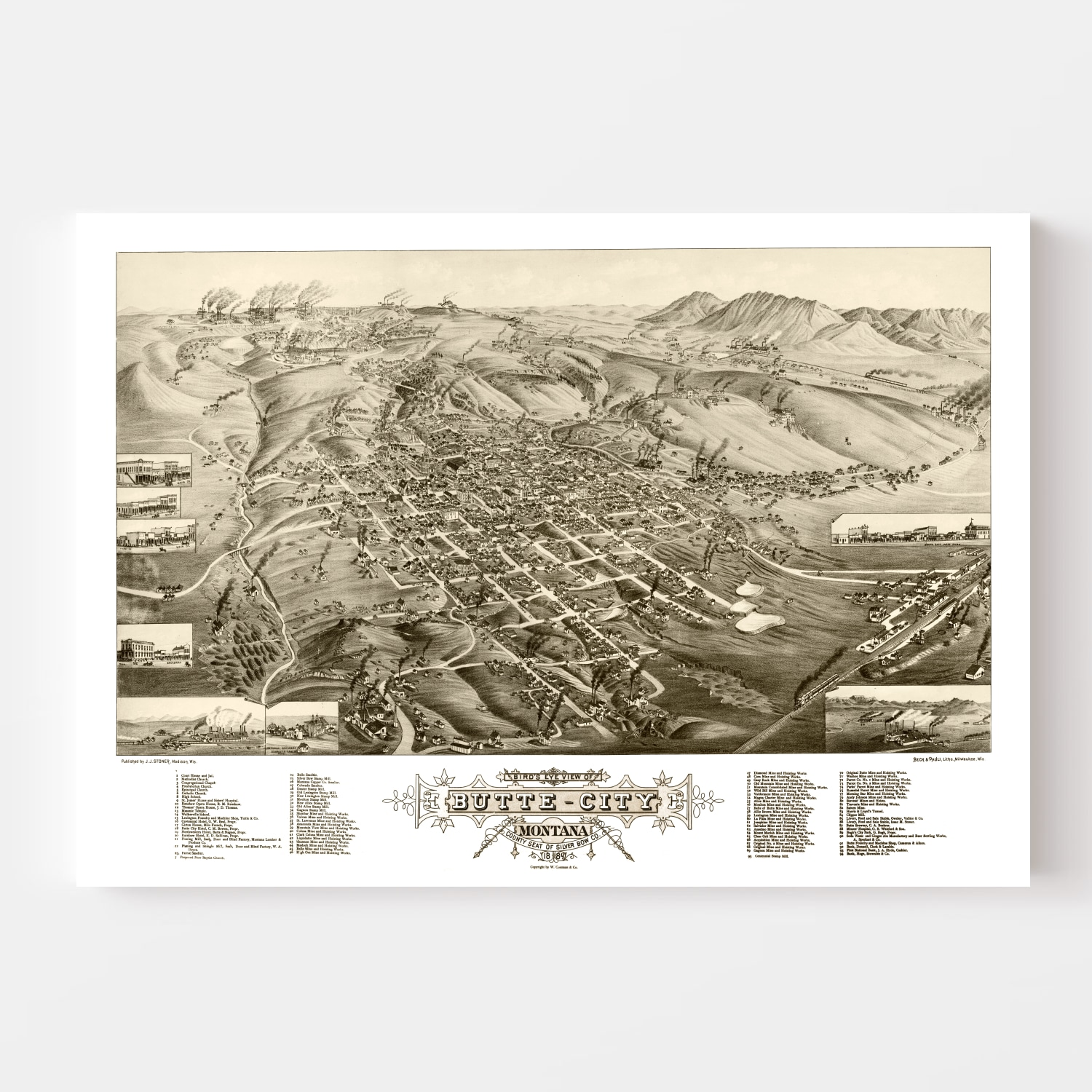 Vintage Map of Butte City, Montana 1884