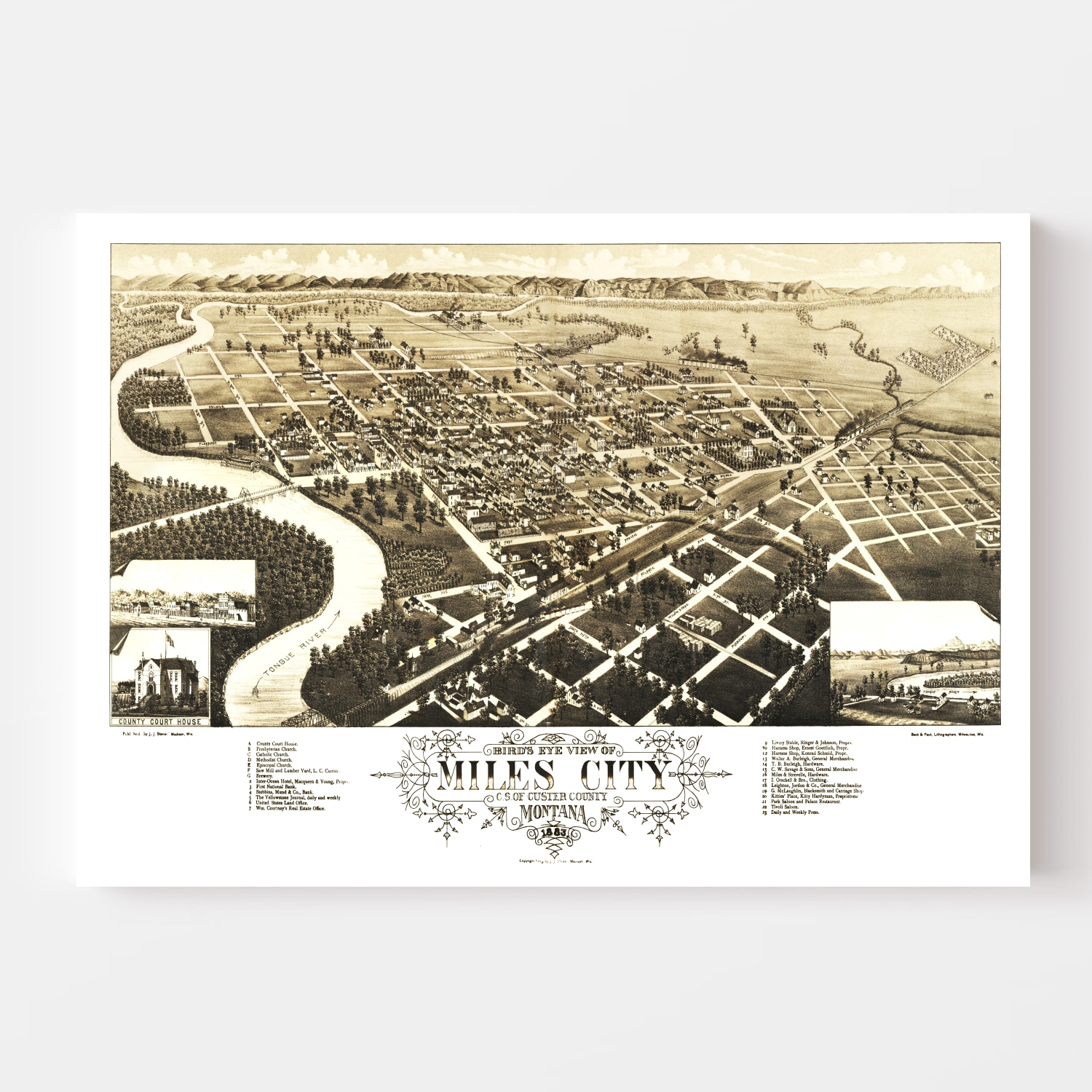Vintage Map of Miles City, Montana 1883