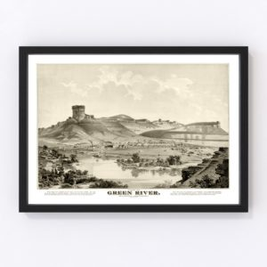 Vintage Map of Green River, Wyoming 1875