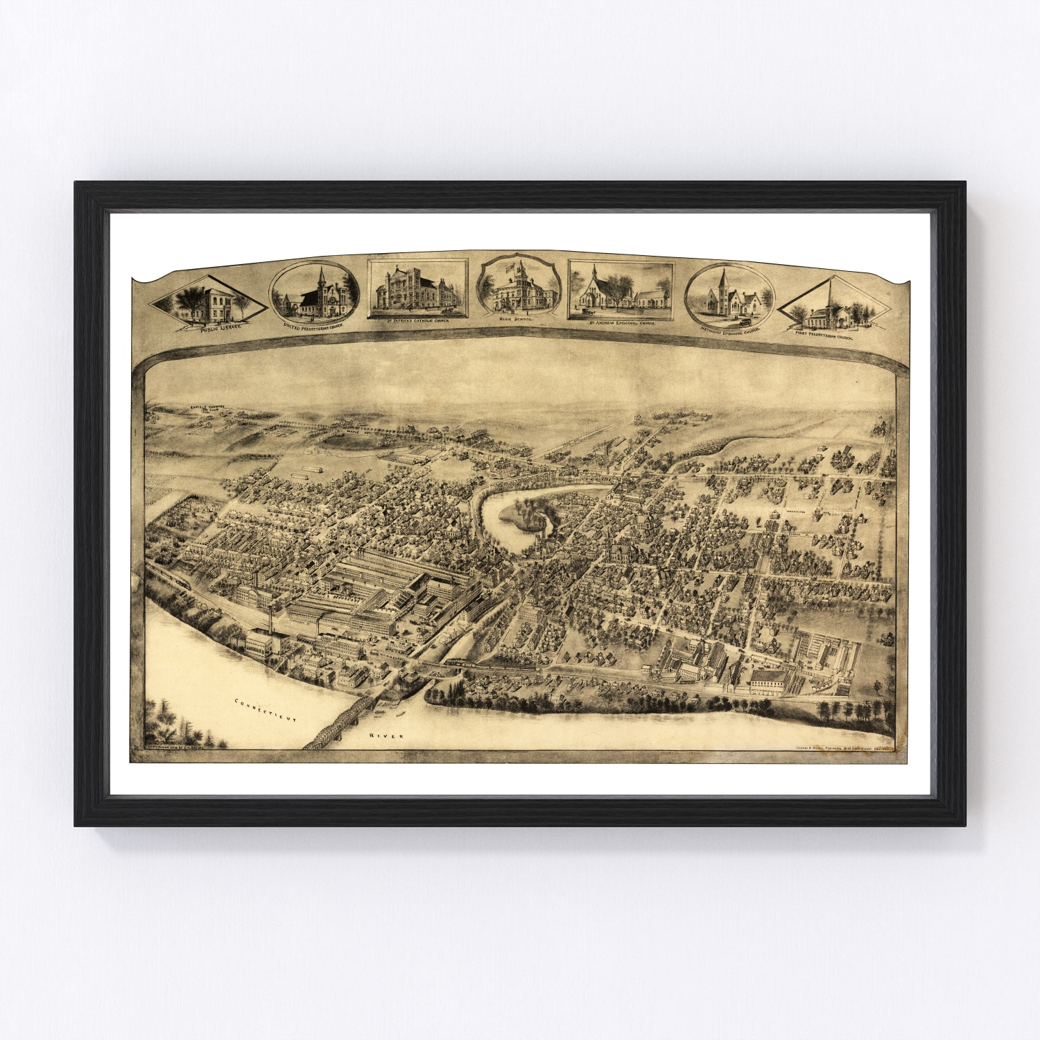 Vintage Map of Thompsonville – Enfield, Connecticut 1908