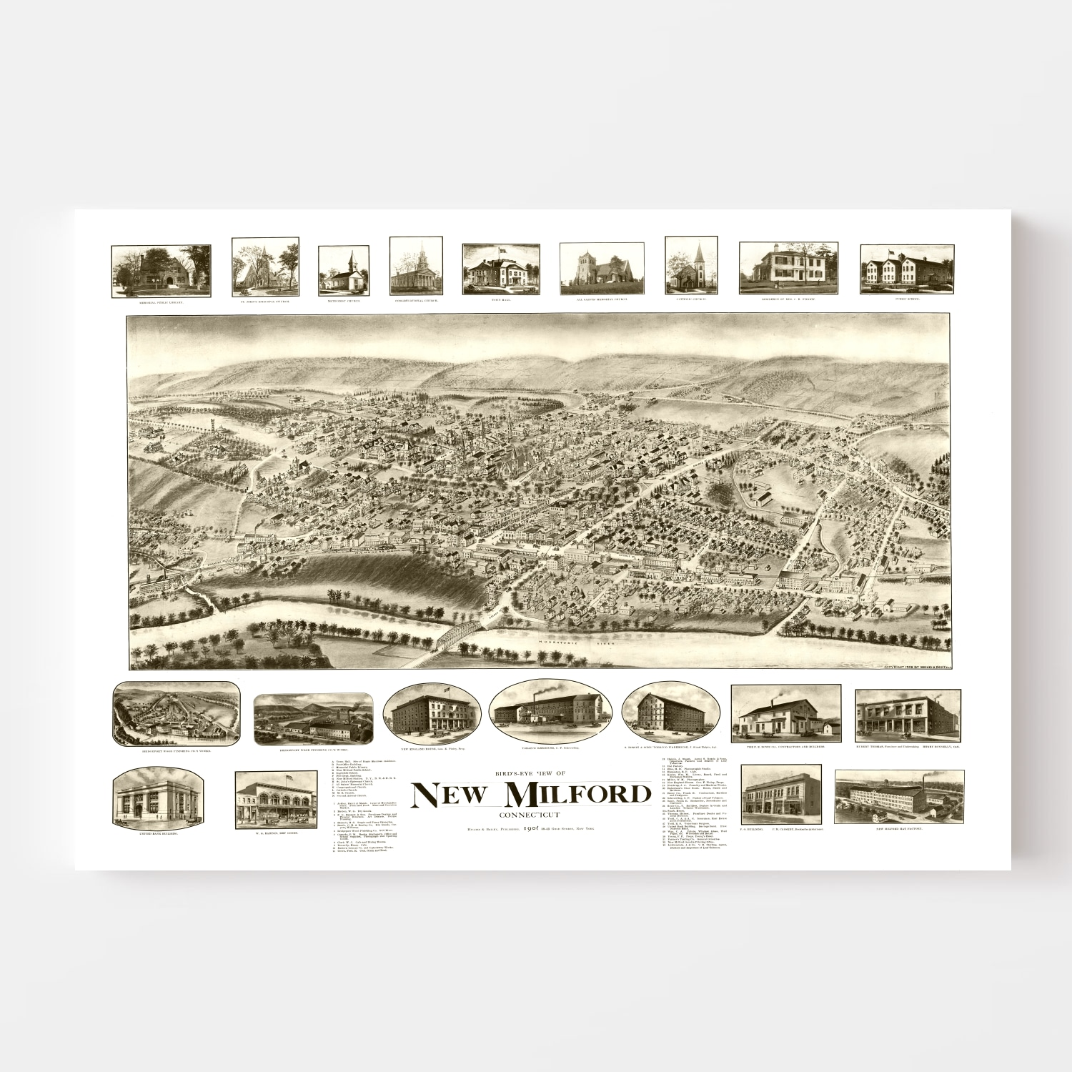 Vintage Map of New Milford, Connecticut 1906
