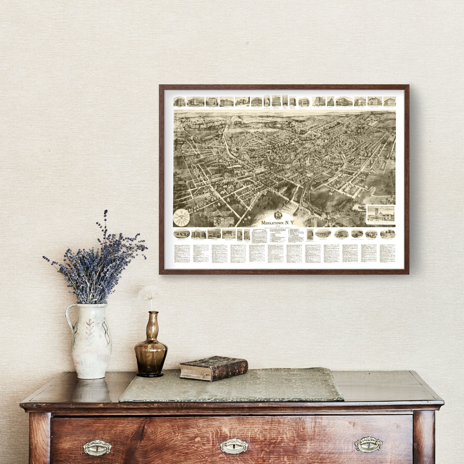 Vintage Map of Middletown, New York 1922