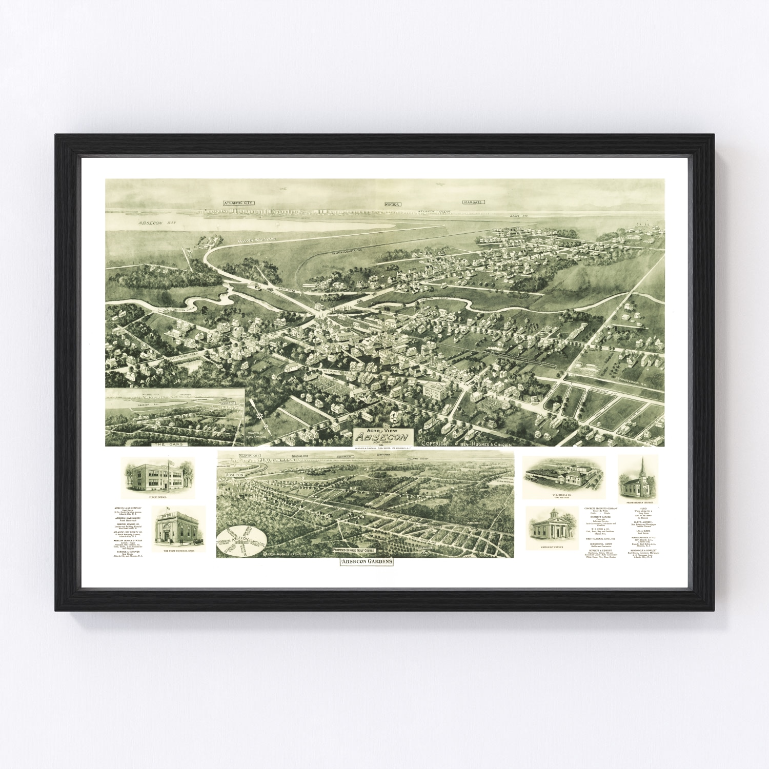 Vintage Map of Absecon, New Jersey 1924