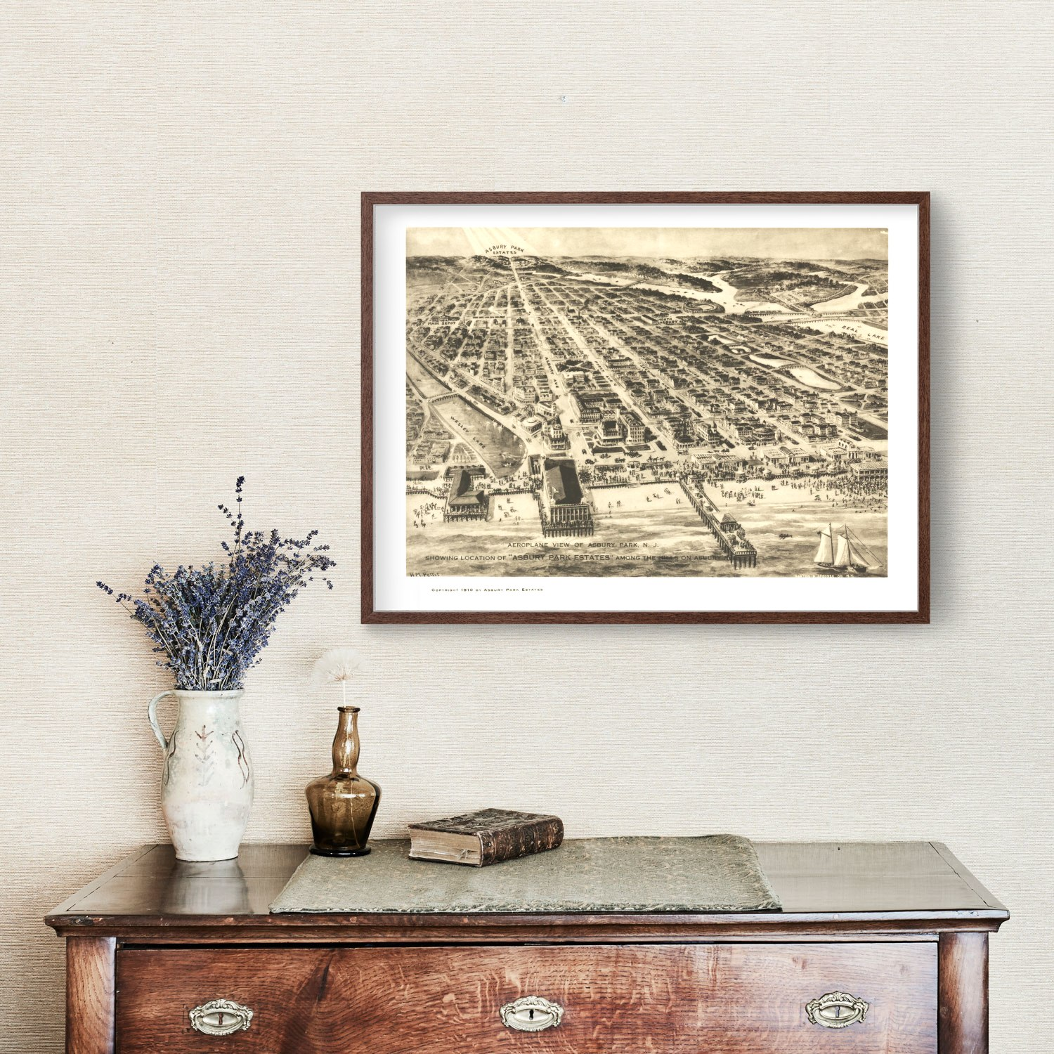 Vintage Map of Asbury Park, New Jersey 1910
