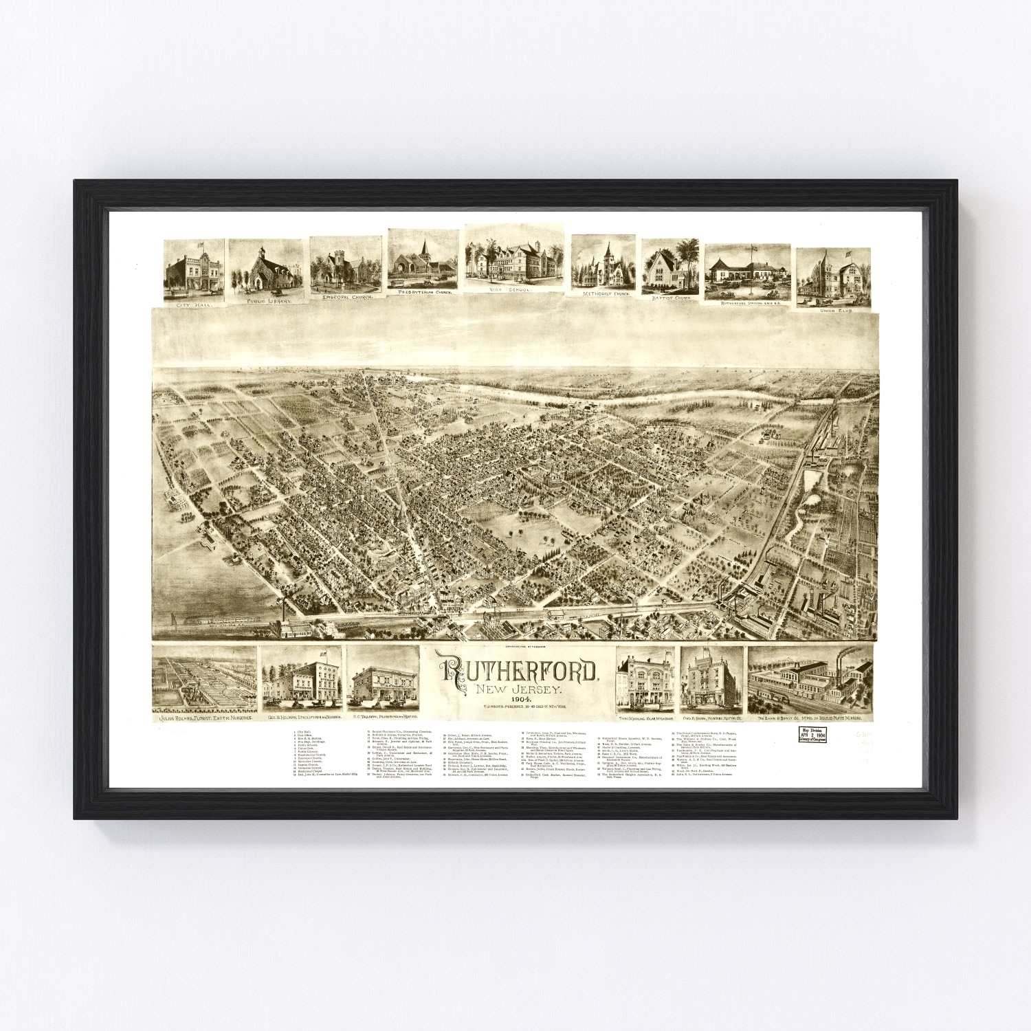 Vintage Map of Rutherford, New Jersey 1904