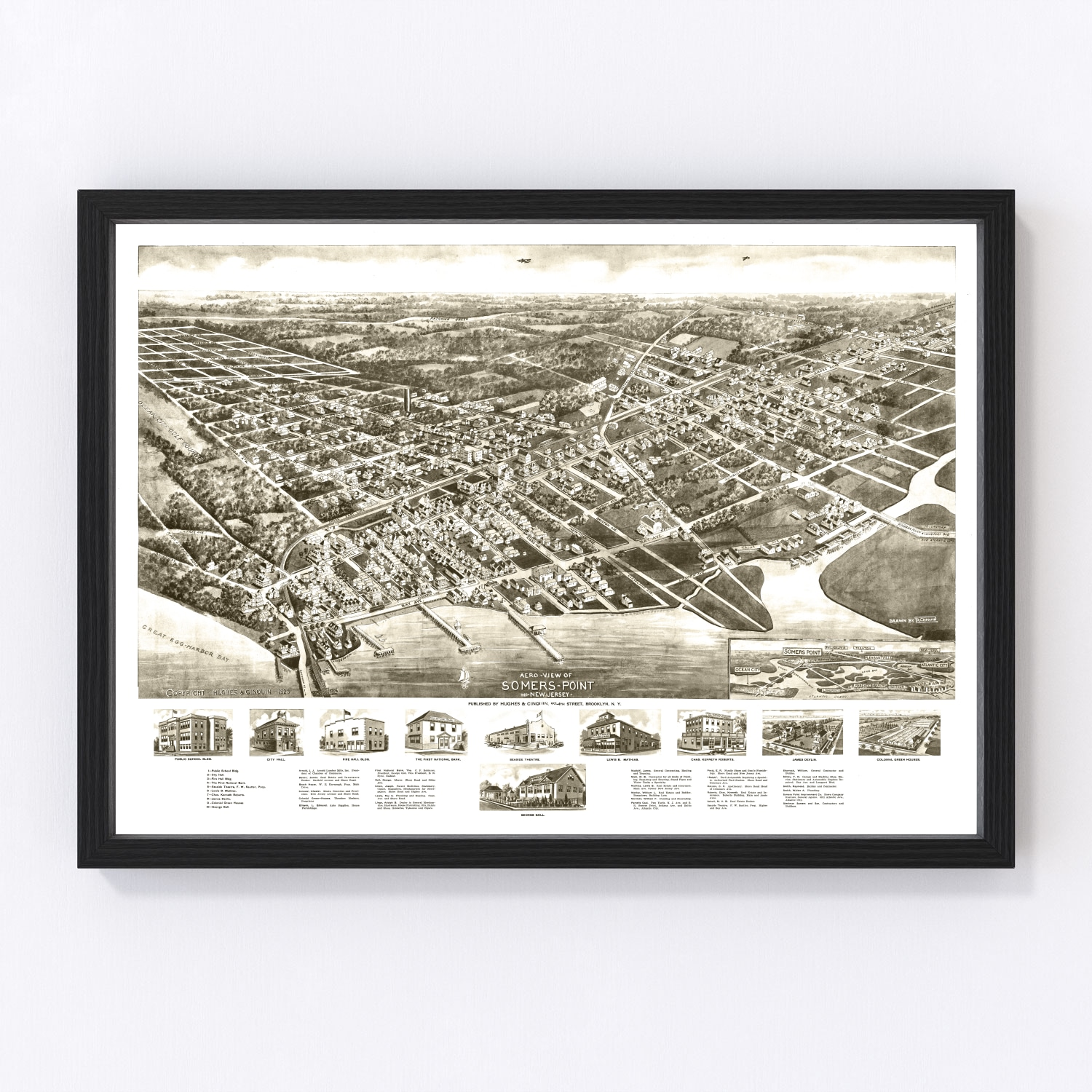 Vintage Map of Somers Point, New Jersey 1925