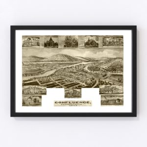 Vintage Map of Confluence, Pennsylvania 1905