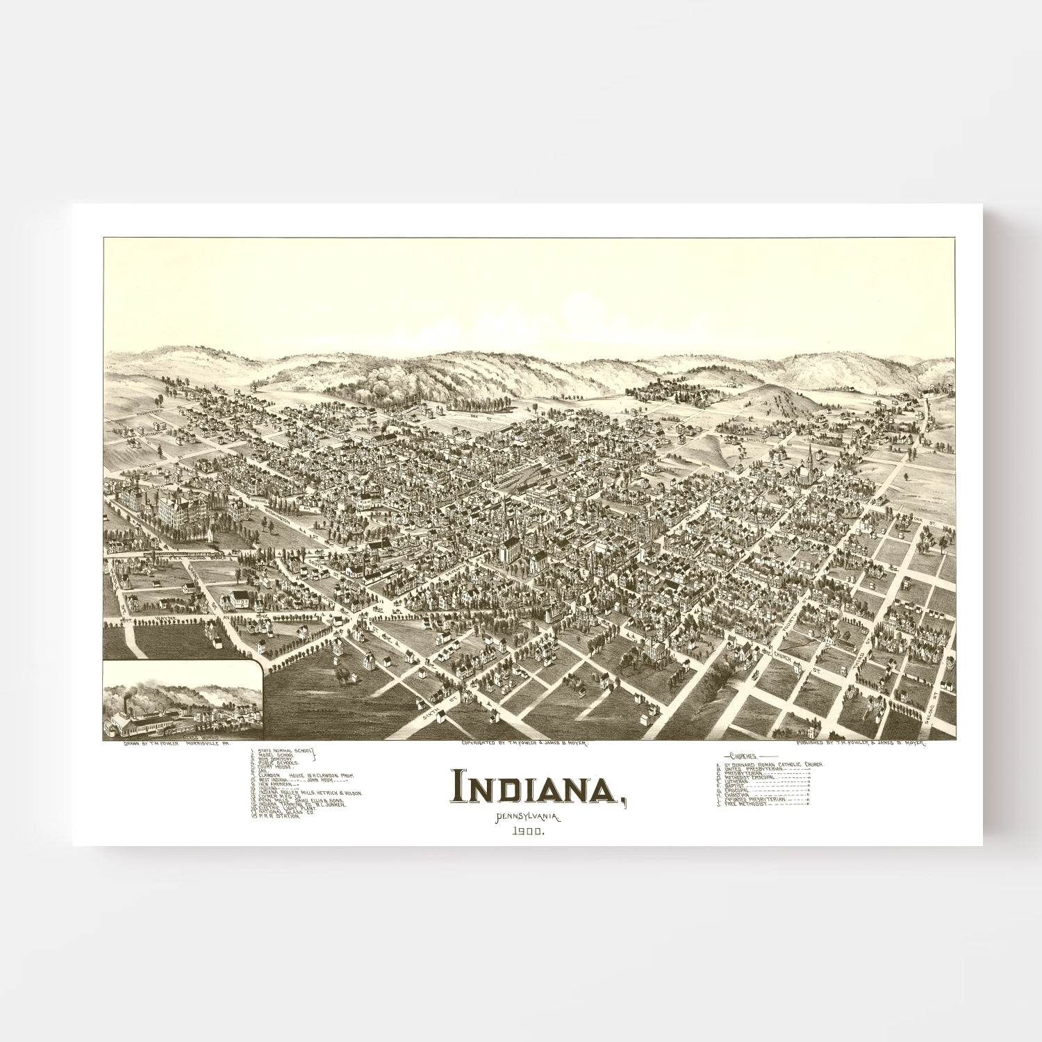 Vintage Map of Indiana, Pennsylvania 1900