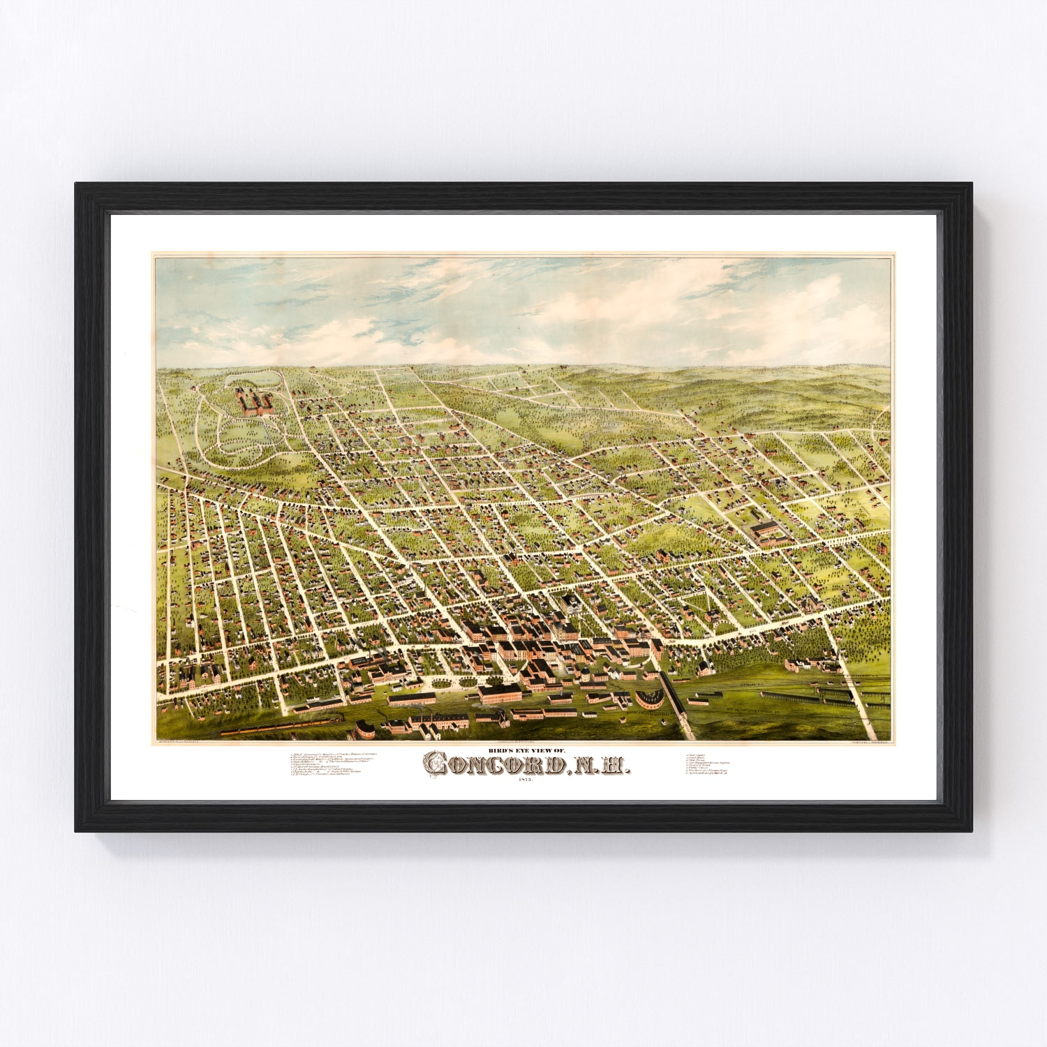 Vintage Map of Concord, New Hampshire 1875