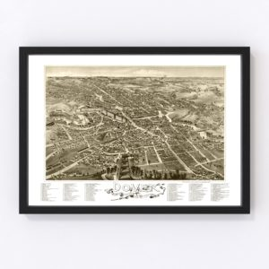 Vintage Map of Dover, New Hampshire 1888