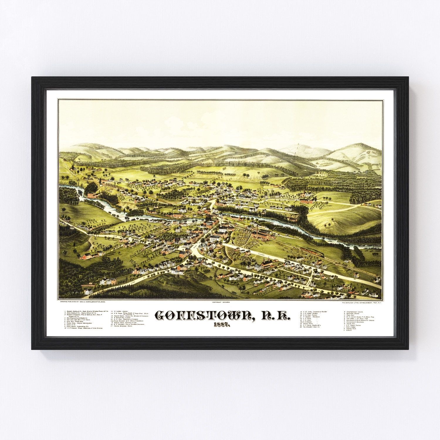Vintage Map of Goffstown, New Hampshire 1887